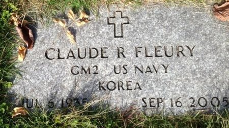FLEURY, CLAUDE R - Hillsborough County, New Hampshire | CLAUDE R FLEURY - New Hampshire Gravestone Photos